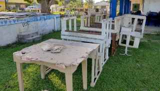 Old desks at Queen Salote school